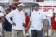 Sep 21, 2018; Orlando, FL, USA; Florida Atlantic Owls head coach Lane Kiffin (left) and UCF Knights head coach John Heupel talk at mid field before the game at Spectrum Stadium. Mandatory Credit: Reinhold Matay-USA TODAY Sports