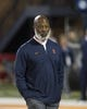 Sep 21, 2018; Champaign, IL, USA; Illinois Fighting Illini head coach Lovie Smith observes his team before a game against the Penn State Nittany Lions at Memorial Stadium. Mandatory Credit: Mike Granse-USA TODAY Sports