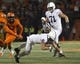 Sep 21, 2018; Champaign, IL, USA; Penn State Nittany Lions quarterback Trace McSorley (9) dives for a first down during the first quarter against the Illinois Fighting Illini at Memorial Stadium. Mandatory Credit: Mike Granse-USA TODAY Sports