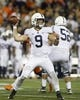 Sep 21, 2018; Champaign, IL, USA; Penn State Nittany Lions quarterback Trace McSorley (9) throws a pass against the Illinois Fighting Illini during the second quarter at Memorial Stadium. Mandatory Credit: Mike Granse-USA TODAY Sports