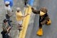 Sep 22, 2018; Hattiesburg, MS, USA; The Southern Miss mascot greets a fan in the pre-game parade before the game between the Southern Miss Golden Eagles and the Rice Owls at M. M. Roberts Stadium. Mandatory Credit: Chuck Cook-USA TODAY Sports