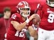 Sep 22, 2018; Bloomington, IN, USA; Indiana Hoosiers quarterback Peyton Ramsey (12) warms up before the game against the Michigan State Spartans at Memorial Stadium . Mandatory Credit: Marc Lebryk-USA TODAY Sports