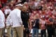 Sep 22, 2018; Norman, OK, USA; Oklahoma Sooners head coach Lincoln Riley speaks to Army Black Knights head coach Jeff Monken prior to action at Gaylord Family - Oklahoma Memorial Stadium. Mandatory Credit: Mark D. Smith-USA TODAY Sports
