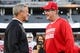 Sep 22, 2018; Iowa City, IA, USA; Iowa Hawkeyes head coach Kirk Ferentz (left) and Wisconsin Badgers head coach Paul Chryst talk before the game at Kinnick Stadium. Mandatory Credit: Jeffrey Becker-USA TODAY Sports