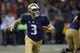 Sep 22, 2018; Seattle, WA, USA; Washington Huskies quarterback Jake Browning (3) looks to pass against the Arizona State Sun Devils during the second quarter at Husky Stadium. Mandatory Credit: Jennifer Buchanan-USA TODAY Sports