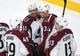 Sep 24, 2018; Las Vegas, NV, USA; Colorado Avalanche players celebrate after a power play goal by Colorado Avalanche center Carl Soderberg (34) during the first period against the Vegas Golden Knights at T-Mobile Arena. Mandatory Credit: Stephen R. Sylvanie-USA TODAY Sports