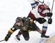 Sep 24, 2018; Las Vegas, NV, USA; Colorado Avalanche right wing Scott Kosmachuk (32) collides with Vegas Golden Knights center Oscar Lindberg (24) during the first period at T-Mobile Arena. Mandatory Credit: Stephen R. Sylvanie-USA TODAY Sports
