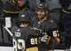 Sep 24, 2018; Las Vegas, NV, USA; Vegas Golden Knights left wing Max Pacioretty (67) celebrates with Vegas Golden Knights right wing Alex Tuch (89) after scoring a second period goal against the Colorado Avalanche at T-Mobile Arena. Mandatory Credit: Stephen R. Sylvanie-USA TODAY Sports