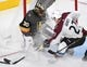 Sep 24, 2018; Las Vegas, NV, USA; Vegas Golden Knights goaltender Malcolm Subban (30) protects the net from Colorado Avalanche defenseman Ryan Graves (27) during the second period at T-Mobile Arena. Mandatory Credit: Stephen R. Sylvanie-USA TODAY Sports