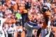 Sep 16, 2018; Denver, CO, USA; Denver Broncos linebacker Von Miller (58) celebrates his sack with defensive back Chris Harris (25) in the first quarter at Broncos Stadium at Mile High. Mandatory Credit: Ron Chenoy-USA TODAY Sports