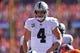 Sep 16, 2018; Denver, CO, USA; Oakland Raiders quarterback Derek Carr (4) during the second quarter against the Denver Broncos at Broncos Stadium at Mile High. Mandatory Credit: Ron Chenoy-USA TODAY Sports