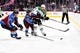 Sep 26, 2018; Denver, CO, USA; Colorado Avalanche defenseman Ryan Graves (27) and center Sheldon Dries (15) pressure Dallas Stars left wing Michael Mersch (20) during the first period at Pepsi Center. Mandatory Credit: Ron Chenoy-USA TODAY Sports