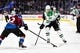 Sep 26, 2018; Denver, CO, USA; Dallas Stars left wing Denis Gurianov (34) has the puck taken away by Colorado Avalanche defenseman Sergei Boikov (42) in the first period at Pepsi Center. Mandatory Credit: Ron Chenoy-USA TODAY Sports