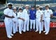 Sep 27, 2018; Kansas City, MO, USA; Kansas City Royals right fielder Brett Phillips (14) poses for a photo with crew members of the USS Missouri before the game against the Cleveland Indians at Kauffman Stadium. Mandatory Credit: Jay Biggerstaff-USA TODAY Sports