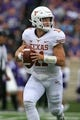 Sep 29, 2018; Manhattan, KS, USA; Texas Longhorns quarterback Sam Ehlinger (11) drops back to pass during the first quarter against the Kansas State Wildcats at Bill Snyder Family Stadium. Mandatory Credit: Scott Sewell-USA TODAY Sports