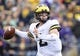 Sep 29, 2018; Evanston, IL, USA; Michigan Wolverines quarterback Jake Moody throws a pass in the first half against the Northwestern Wildcats at Ryan Field. Mandatory Credit: Quinn Harris-USA TODAY Sports