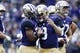 Sep 29, 2018; Seattle, WA, USA; Washington Huskies quarterback Jake Browning (3) congratulates running back Salvon Ahmed (26) after Ahmed scored a touchdown against the Brigham Young Cougars during the first quarter at Husky Stadium. Mandatory Credit: Jennifer Buchanan-USA TODAY Sports