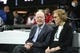 Sep 30, 2018; Atlanta, GA, USA; Former President Jimmy Carter and his wife Rosalyn sit on sidelines before a game between the Atlanta Falcons and the Cincinnati Bengals at Mercedes-Benz Stadium. Mandatory Credit: Jason Getz-USA TODAY Sports