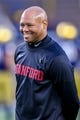 Sep 29, 2018; South Bend, IN, USA; Stanford Cardinal head coach David Shaw watches warmups before the game against the Notre Dame Fighting Irish at Notre Dame Stadium. Mandatory Credit: Matt Cashore-USA TODAY Sports