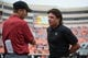 Oct 6, 2018; Stillwater, OK, USA; Iowa State Cyclones head coach Matt Campbell and Oklahoma State Cowboys head coach Mike Gundy (right) meet before a game at Boone Pickens Stadium. Mandatory Credit: Rob Ferguson-USA TODAY Sports