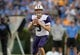 Oct 6, 2018; Pasadena, CA, USA; Washington Huskies quarterback Jake Browning (3) looks to throw a pass in the second quarter against the UCLA Bruins at Rose Bowl. Mandatory Credit: Kirby Lee-USA TODAY Sports