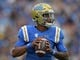 Oct 6, 2018; Pasadena, CA, USA; UCLA Bruins quarterback Dorian Thompson-Robinson (7) throws a pass against the UCLA Bruins in the first quarter at Rose Bowl. Mandatory Credit: Kirby Lee-USA TODAY Sports
