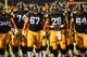 Sep 22, 2018; Iowa City, IA, USA; Iowa Hawkeyes offensive lineman Levi Duwa (67) and running back Toren Young (28) and teammates before the game against the Wisconsin Badgers at Kinnick Stadium. Mandatory Credit: Jeffrey Becker-USA TODAY Sports