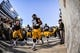 Sep 22, 2018; Iowa City, IA, USA; Iowa Hawkeyes offensive lineman Dalton Ferguson (76) and teammates head off the field before the game against the Wisconsin Badgers at Kinnick Stadium. Mandatory Credit: Jeffrey Becker-USA TODAY Sports