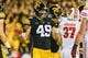 Sep 22, 2018; Iowa City, IA, USA; Iowa Hawkeyes linebacker Nick Niemann (49) in action during the game against the Wisconsin Badgers at Kinnick Stadium. Mandatory Credit: Jeffrey Becker-USA TODAY Sports