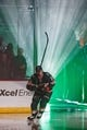 Oct 6, 2018; Saint Paul, MN, USA; Minnesota Wild forward Nino Niederreiter (22) is introduced before the game against Las Vegas Golden Knights at Xcel Energy Center. Mandatory Credit: Brad Rempel-USA TODAY Sports