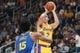 October 12, 2018; San Jose, CA, USA; Los Angeles Lakers guard Lonzo Ball (2) shoots the basketball against Golden State Warriors center Damian Jones (15) during the first quarter at SAP Center. Mandatory Credit: Kyle Terada-USA TODAY Sports