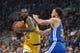 October 12, 2018; San Jose, CA, USA; Los Angeles Lakers guard Lance Stephenson (6) drives to the basket against Golden State Warriors guard Stephen Curry (30) during the first quarter at SAP Center. Mandatory Credit: Kyle Terada-USA TODAY Sports