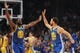 October 12, 2018; San Jose, CA, USA; Golden State Warriors forward Draymond Green (23) and guard Stephen Curry (30) celebrate against the Los Angeles Lakers during the first quarter at SAP Center. Mandatory Credit: Kyle Terada-USA TODAY Sports