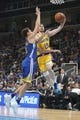 October 12, 2018; San Jose, CA, USA; Los Angeles Lakers forward Sviatoslav Mykhailiuk (10) shoots the basketball against Golden State Warriors guard Klay Thompson (11) during the first quarter at SAP Center. Mandatory Credit: Kyle Terada-USA TODAY Sports