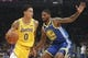October 12, 2018; San Jose, CA, USA; Los Angeles Lakers forward Kyle Kuzma (0) dribbles the basektball against Golden State Warriors forward Alfonzo McKinnie (28) during the first quarter at SAP Center. Mandatory Credit: Kyle Terada-USA TODAY Sports