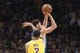 October 12, 2018; San Jose, CA, USA; Golden State Warriors guard Klay Thompson (11) shoots the basketball against Los Angeles Lakers guard Lonzo Ball (2) during the second quarter at SAP Center. Mandatory Credit: Kyle Terada-USA TODAY Sports