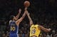 October 12, 2018; San Jose, CA, USA; Golden State Warriors guard Stephen Curry (30) shoots the basketball against Los Angeles Lakers forward Johnathan Williams (19) during the first quarter at SAP Center. Mandatory Credit: Kyle Terada-USA TODAY Sports