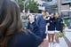 Oct 13, 2018; Atlanta, GA, USA; Georgia Tech Yellow Jackets fans pose with cheerleaders before a game against the Duke Blue Devils at Bobby Dodd Stadium. Mandatory Credit: Brett Davis-USA TODAY Sports