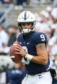 Oct 13, 2018; University Park, PA, USA; Penn State Nittany Lions quarterback Trace McSorley (9) warms up prior to the game against the Michigan State Spartans at Beaver Stadium. Mandatory Credit: Rich Barnes-USA TODAY Sports