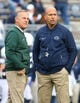 Oct 13, 2018; University Park, PA, USA; Michigan State Spartans head coach Mark Dantonio (left) and Penn State Nittany Lions head coach James Franklin (right) meet prior to the game at Beaver Stadium. Mandatory Credit: Rich Barnes-USA TODAY Sports