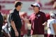 Oct 13, 2018; Columbia, SC, USA;  South Carolina Gamecocks head coach Will Muschamp and Texas A&M Aggies head coach Jimbo Fisher chat before the start of the first quarter at Williams-Brice Stadium. Mandatory Credit: Jim Dedmon-USA TODAY Sports