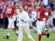 Oct 13, 2018; Tuscaloosa, AL, USA; Alabama Crimson Tide head coach Nick Saban runs out onto the field with his players before their game against the Missouri Tigers  at Bryant-Denny Stadium. Mandatory Credit: John David Mercer-USA TODAY Sports