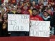 Oct 13, 2018; Ames, IA, USA; Iowa State Cyclones show their support for Iowa State Cyclones quarterback Brock Purdy (not pictured) during a game against the West Virginia Mountaineers at Jack Trice Stadium. Iowa State beat West Virginia 30-14.  Mandatory Credit: Reese Strickland-USA TODAY Sports
