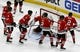 Oct 13, 2018; Chicago, IL, USA; Chicago Blackhawks players wear the jersey of teammate defenseman Duncan Keith (2) to honor his 1000th game during warm ups before their game against the St. Louis Blues at the United Center. Mandatory Credit: Matt Marton-USA TODAY Sports