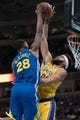 October 12, 2018; San Jose, CA, USA; Los Angeles Lakers center JaVale McGee (7) blocks the shot attempt of Golden State Warriors forward Alfonzo McKinnie (28) during the third quarter at SAP Center. Mandatory Credit: Kyle Terada-USA TODAY Sports