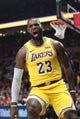 Oct 18, 2018; Portland, OR, USA;  Los Angeles Lakers forward LeBron James (23) reacts after dunking against the Portland Trail Blazers in the first half at Moda Center. Mandatory Credit: Jaime Valdez-USA TODAY Sports