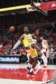 Oct 18, 2018; Portland, OR, USA;  Los Angeles Lakers forward LeBron James (23) reacts after a dunk against the Portland Trail Blazers in the first half at Moda Center. Mandatory Credit: Jaime Valdez-USA TODAY Sports