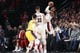 Oct 18, 2018; Portland, OR, USA; Portland Trail Blazers guard Damian Lillard (0) attempts a three-point shot while fouled by the Los Angeles Lakers in the first half at Moda Center. Mandatory Credit: Jaime Valdez-USA TODAY Sports