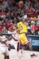 Oct 18, 2018; Portland, OR, USA;  Portland Trail Blazers guard CJ McCollum (3) fouls Los Angeles Lakers forward LeBron James (23) in the first half at Moda Center. Mandatory Credit: Jaime Valdez-USA TODAY Sports