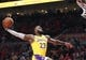 Oct 18, 2018; Portland, OR, USA;  Los Angeles Lakers forward LeBron James (23) dunks against the Portland Trail Blazers in the first half at Moda Center. Mandatory Credit: Jaime Valdez-USA TODAY Sports